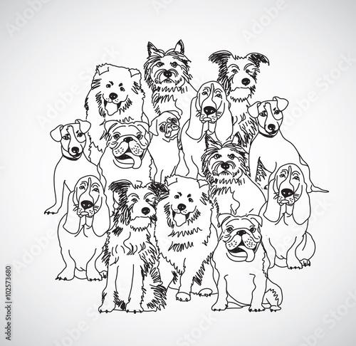 grupuj-psy-czarno-biale-izoluj