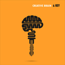 Creative Brain Sign With Key Symbol. Key Of Success.Concept Of I