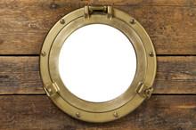 Vintage Brass Porthole In Wood...