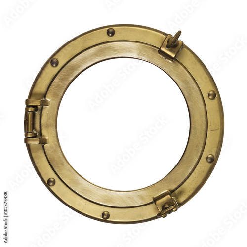 Photo Stands Ship Brass porthole isolated with clipping path