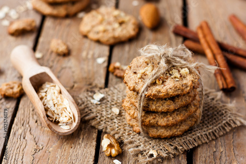 Biscuit homemade oatmeal cookies with nuts