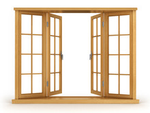 Wooden Open Window Isolated On...