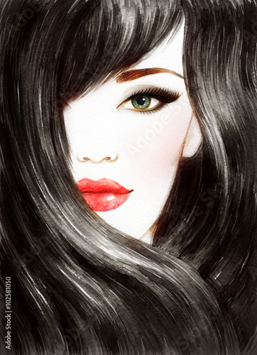 Beautiful woman face. Long healthy hair. Abstract fashion watercolor illustration - 102581050