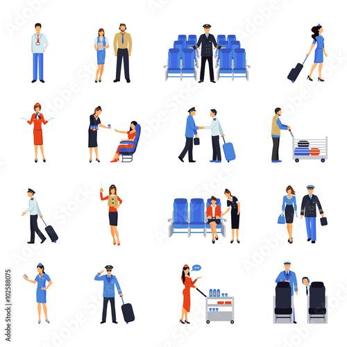 Pilot And Stewardess Flat Icons Set Wallpaper Mural