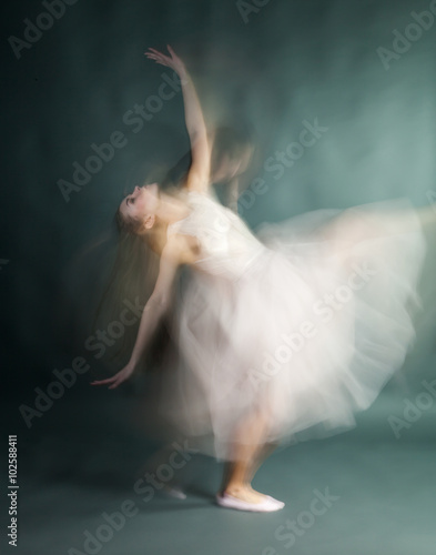 Fotografie, Obraz  Ballet dancer woman in motion blur, ballerina