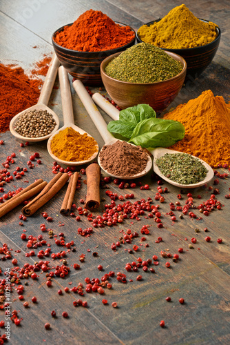 Variety of spices on kitchen table Poster