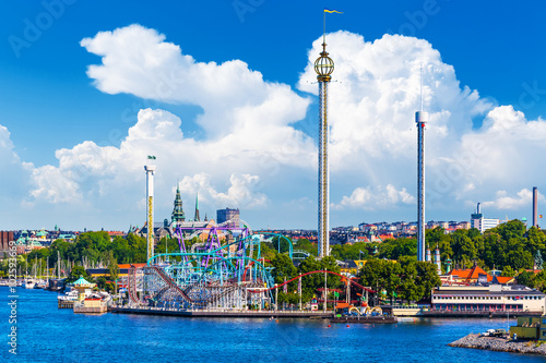 Photo sur Toile Attraction parc Amusement park Grona Lund on Djurgarden island in Stockholm, Swe