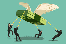 The Big Project. Businessman Catch Money Shaped Like A Giant Bird.Business Collaboration.Giant Money Will Fly Away.Approach To Communication For Finance. Graphic Design And Vector EPS 10