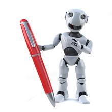 3d Robot Holding A Red Pen