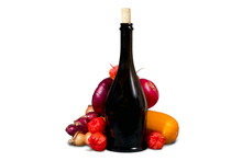 Black Wine Bottle With Fruits And Vegetables
