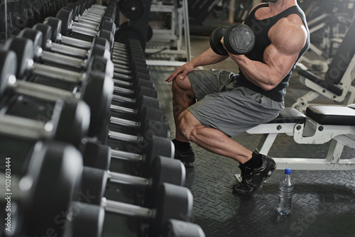 Fotografie, Obraz  bodybuilder working out with bumbbells weights at the gym