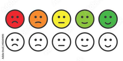 Fotografie, Obraz  Emoji icons for rate of satisfaction level