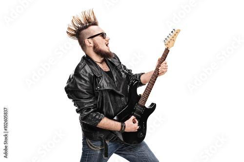 Photo  Punk rock guitarist playing electric guitar