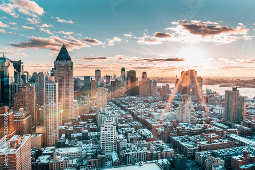Poster Amerikaanse Plekken New York Skyline at Sunset