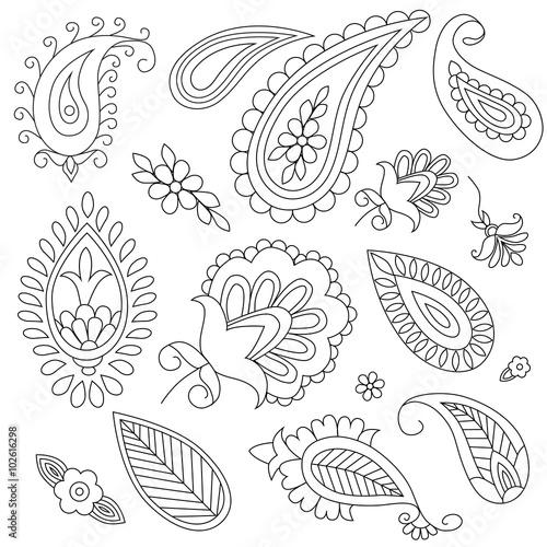 Obraz na plátně hand-drawn elements of ethnic paisley