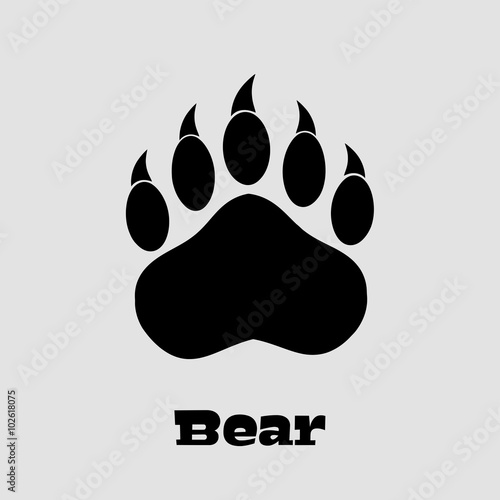 Photo  Black Bear Paw With Claws. Illustration Background And Text