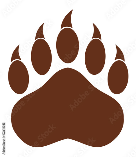 Photo  Brown Bear Paw With Claws. Illustration Isolated On White