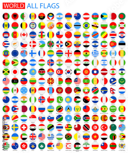 Fotografía  Flat Round All World Vector Flags