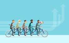 Business People Group Riding Bike Teamwork