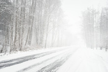 Snowy Winter Road During Blizz...