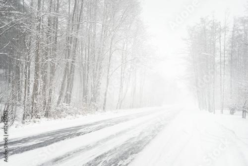 Fotografia Snowy winter road during blizzard in Latvia
