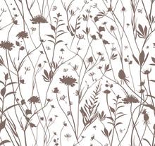 Seamless Wildflowers Template.