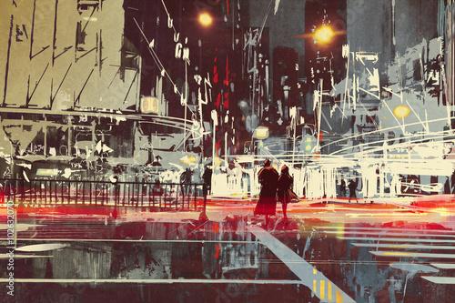 scena-nocy-nowoczesnej-ulicy-miasta-malarstwo-ilustracja