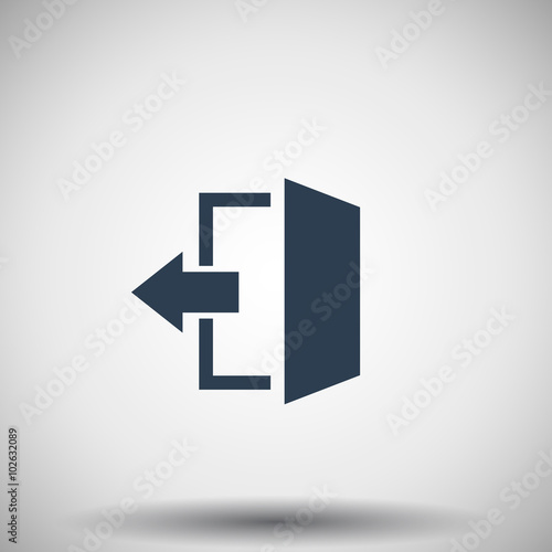 Flat black Exit icon Wall mural
