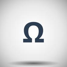 Flat Black Omega Icon