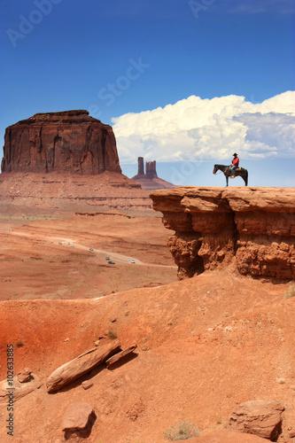 Poster de jardin Vache USA - Monument Valley / Cowboy on John Ford point