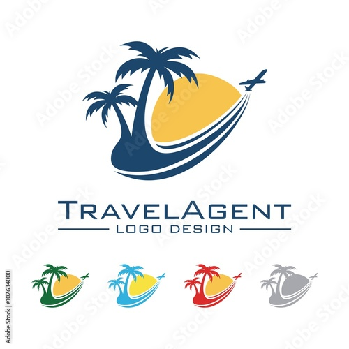 Travel And Tour Logo, Plane, Palm, Sun, Trajectory Design ...