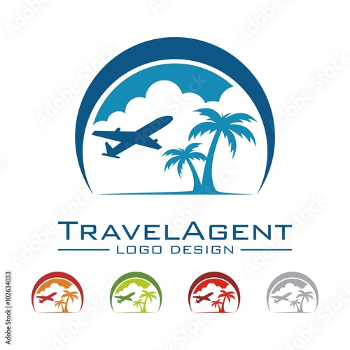 Travel And Tour Logo, Plane, Palm, Land, Cloud, Crescent ...