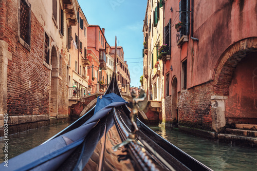 View from gondola during the ride through the canals of Venice i Wallpaper Mural
