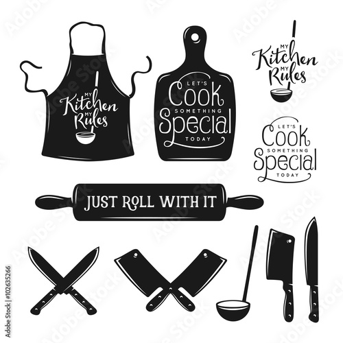 Kitchen related typography set Poster