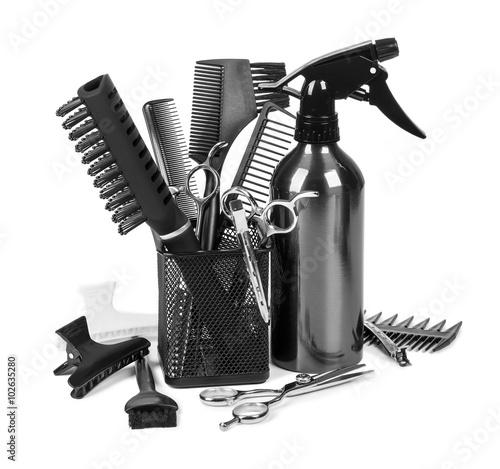 Fotografie, Obraz  Hairdressing tools on whit
