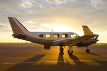 Small Private Propeller Passenger Piper Plane On Tarmac