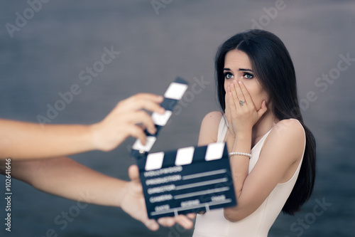 Photo  Scared Actress Shooting Movie Scene