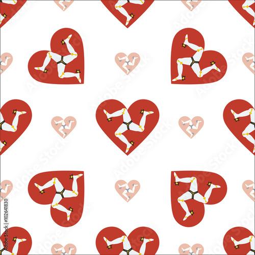 Photo  Isle of Man flag heart seamless pattern. Patriotic Isle of Man f