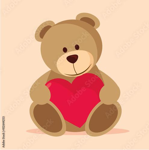 niedlicher Teddy mit Herz #102644253