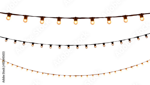 Photo  string wired bulbs on white background