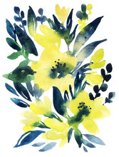 Hand Painted Watercolor Flowers