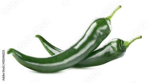 Photo Stands Hot chili peppers Green hot chili peppers double isolated on white background