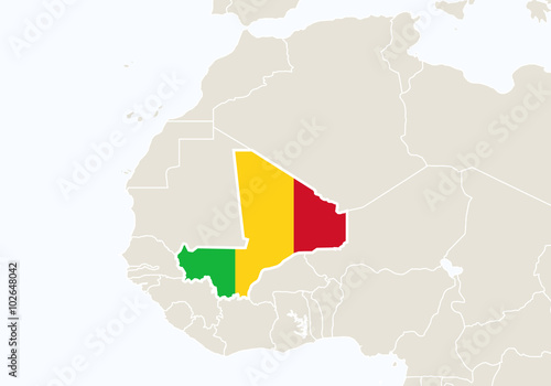 Africa with highlighted Mali map. - Buy this stock vector and ...