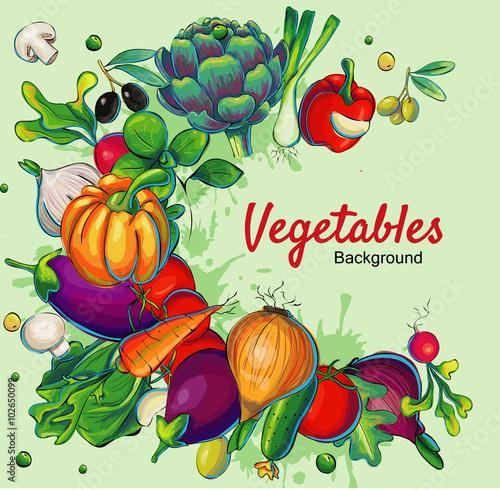 Fotografie, Obraz  Fresh vegetables poster background template vector