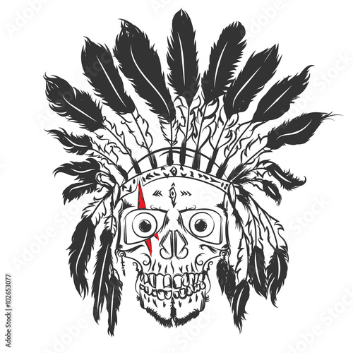 Handmade Drawning Skull With Indian Feather Hat Grunge Print Template Vector Art