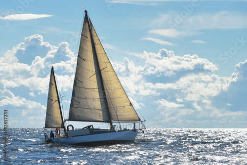 Yacht sailing on a sunny day in Riga bay Canvas Print