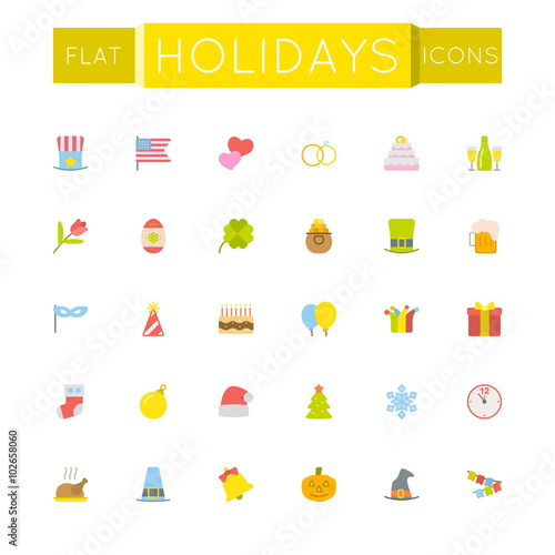 Vector Flat Holidays Icons