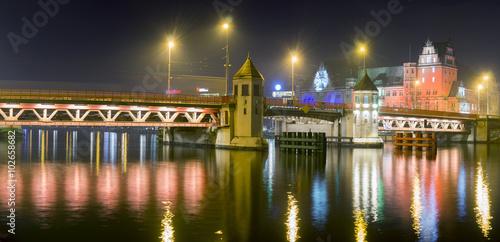 panorama nocnego Szczecina