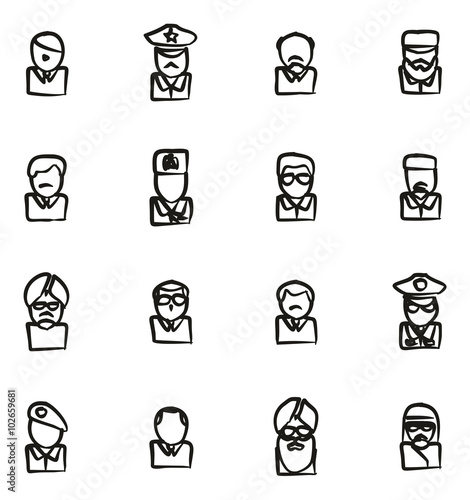 Avatar Icons Famous Dictators Freehand Wallpaper Mural
