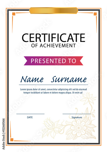 Certificate Template Diploma A4 Size Vector Buy This Stock